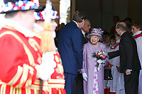 13 June 2017 - Queen Elizabeth II and Prince Philip Duke of Edinburgh attend Evensong in celebration of the centenary of the Order of the Companions of Honour at the Chapel Royal Hampton Court Palace, in Richmond upon Thames, in southwest London. Photo Credit: ALPR/AdMedia