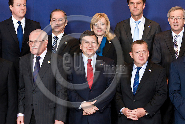 BRUSSELS - BELGIUM - 11 MARCH 2010 -- EU Summit under Hungarian Presidency -- Family-photo -- David CAMERON, Prime Minister of United Kingdom, Vaclav KLAUS, President of the Czech Republic, Lawrence GONZI, Prime Minister of Malta José Manuel BARROSO, President of the European Commission, Iveta RADICOVA Prime Minister of Slovakia, Mark RUTTE, PM of tthe Netherlands, Lars Lokke RASMUSSEN, Prime Minister of Denmark and Jean-Claude JUNCKER (ri), Prime Minister of Luxembourg. -- PHOTO: Juha ROININEN / EUP-Images