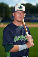 Vermont Lake Monsters second baseman Trace Loehr (6) poses for a photo before the first game of a doubleheader against the Batavia Muckdogs August 11, 2015 at Dwyer Stadium in Batavia, New York.  Batavia defeated Vermont 6-0.  (Mike Janes/Four Seam Images)