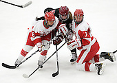 Kayla Tutino (BU - 8), Jillian Dempsey (Harvard - 14), Shannon Stoneburgh (BU - 7) - The Boston University Terriers defeated the visiting Harvard University Crimson 2-1 on Sunday, November 18, 2012, at Walter Brown Arena in Boston, Massachusetts.