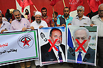 Palestinian supporters of the Democratic Front for the Liberation of Palestine (DFLP), take part in a protest to solidarity with prisoners from Israeli jails, in Khan Younis in the southern Gaza Strip, on September 19, 2019. Photo by Ashraf Amra