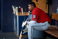 Fort Myers Miracle shortstop Luis Arraez (4) in the dugout during a game against the Tampa Tarpons on May 2, 2018 at George M. Steinbrenner Field in Tampa, Florida.  Fort Myers defeated Tampa 5-0.  (Mike Janes/Four Seam Images)