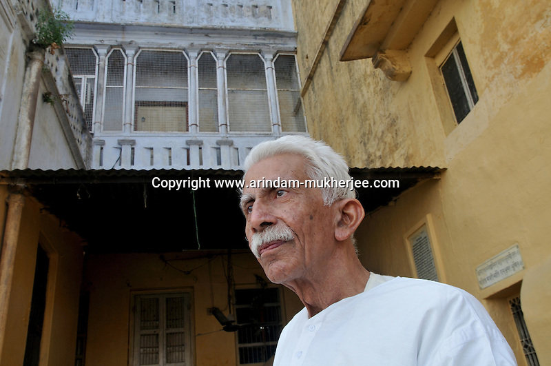 Veer Bhadra Misra in his house, He is head of the Sankat Mochan Foundation. He has come up with an anti pollution drive known as the Swatcha Ganga project, to create awareness among the people of Varanasi and the government of India. He is also a mahant (man responsible for a religious place) in a temple in Varanasi. Prof. Misra is a hydraulic engineer by training and had been a professor with the esteemed Banaras Hindu University. Varanasi, Uttar Pradesh, India.