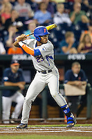 Florida Gators outfielder Buddy Reed (23) at bat during the NCAA College baseball World Series against the Virginia Cavaliers on June 15, 2015 at TD Ameritrade Park in Omaha, Nebraska. Virginia defeated Florida 1-0. (Andrew Woolley/Four Seam Images)