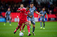 Accrington Stanley's Sadou Diallo under pressure from Lincoln City's Tom Hopper<br /> <br /> Photographer Andrew Vaughan/CameraSport<br /> <br /> The EFL Sky Bet League One - Accrington Stanley v Lincoln City - Saturday 15th February 2020 - Crown Ground - Accrington<br /> <br /> World Copyright © 2020 CameraSport. All rights reserved. 43 Linden Ave. Countesthorpe. Leicester. England. LE8 5PG - Tel: +44 (0) 116 277 4147 - admin@camerasport.com - www.camerasport.com