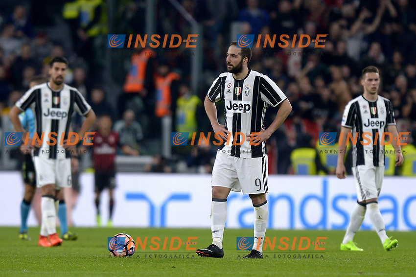 Delusione Gonzalo Higuain Juventus <br /> Torino 10-03-2017, Juventus Stadium, Football Calcio 2016/2017 Serie A, Juventus - Milan, Foto Filippo Alfero/Insidefoto