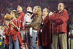 MADISON, WI - NOVEMBER 12: Head coach Barry Alvarez of the Wisconsin Badgers and his family watch a video tribute honoring the coach at Camp Randall Stadium on November 12, 2005 in Madison, Wisconsin. The Hawkeyes beat the Badgers 20-10. (Photo by David Stluka)