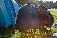 Backpacks that belong to leaders for the Swedish contingent that has just arrived. Photo: Kim Rask/Scouterna
