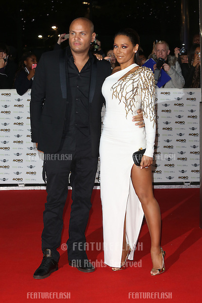 Stephen Belafonte, Mel B, Melanie Brown arriving for The MOBO Awards 2014 held at Wembley Arena, London. 22/10/2014 Picture by: James Smith / Featureflash