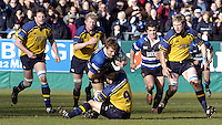 2004/05 Heineken_Cup,Bath Rugby_vs_Leinster,Bath,North Somerset, ENGLAND:.Baths Andy Beattie, rolls over Leinsters David Holwell, Malcolm O'Kelly [left] and Leo Cullen inside [middle] Eric Miller [right].Photo  Peter Spurrier. .email images@intersport-images.com...