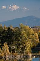 Europe/France/Rhône-Alpes/01/Ain/Crozet:  Depuis la terrasse du    Jiva Hill Park Hotel, rte d'Harée,  vue sur la  campagne du pays de Gex et le Mont-Blanc