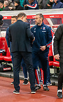4th November 2019; Bet365 Stadium, Stoke, Staffordshire, England; English Championship Football, Stoke City versus West Bromwich Albion; Stoke City Caretaker Manager Rory Delap and West Bromwich Albion Head Coach Slaven Bilic shake hands pre match - Strictly Editorial Use Only. No use with unauthorized audio, video, data, fixture lists, club/league logos or 'live' services. Online in-match use limited to 120 images, no video emulation. No use in betting, games or single club/league/player publications
