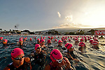 KONA-KAILUA, HI - OCTOBER 11:  Female competitors wait to begin the 2.4-mile Waikiki Roughwater Swim at the 2014 IRONMAN Triathlon World Championships presented by GoPro on October 11, 2014 in Kailua-Kona, Hawaii. (Photo by Donald Miralle) *** Local Caption ***
