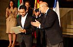 Education and Culture Minister of Spain gives the National Cinema Award to director Juan Antonio Bayona during the 61 San Sebastian Film Festival, in San Sebastian, Spain. September 21, 2013. (ALTERPHOTOS/Victor Blanco)