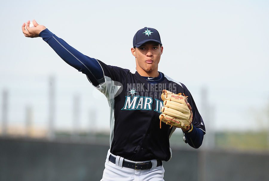 Feb. 15, 2012; Peoria, AZ, USA; Seattle Mariners pitcher Taijuan Walker throws during a pitchers and catchers workout at the Peoria Sports Complex.  Mandatory Credit: Mark J. Rebilas-.