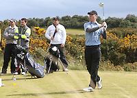 27 May 2015; James Nesbitt tees up at the 11th<br /> <br /> Dubai Duty Free Irish Open Golf Championship 2015, Pro-Am. Royal County Down Golf Club, Co. Down. Picture credit: John Dickson / DICKSONDIGITAL