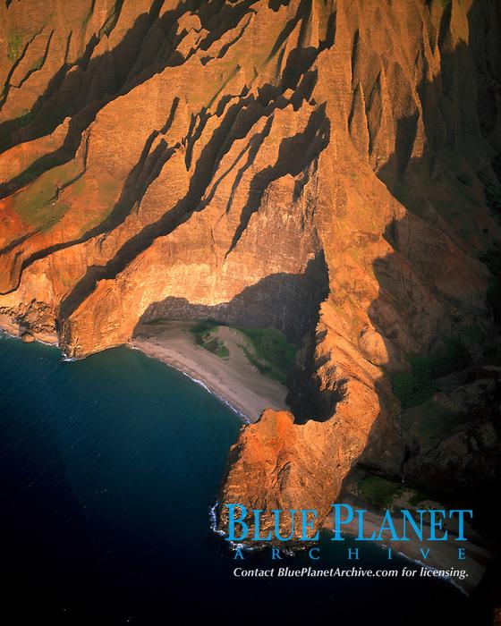 aerial photo of the remote Honopu Valley Na Pali Coast Kauai Hawaii, Pacific Ocean