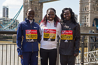 LONDON, ENGLAND 19 APRIL, Vivian Cheruiyot _ Florence Kiplagat _ Mary Keitany (Kenya) attend Virgin Money London Marathon Elite Women's photocall at Westminster, London UK 19th April 2017<br /> CAP/PP/GM<br /> &copy;GM/PP/Capital Pictures