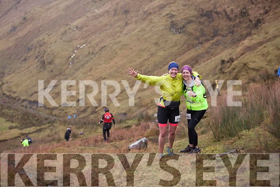Kenmare welcomes over 1600 adventure racers for third annual Quest Kenmare last Saturday, 7th of March. Participants undertook one of three routes, the 28km 'Challenge' route, the 43km 'Sport' route and the 79km 'Expert' route. Pictured are Morag Rowan and Caitriona<br /> Manser.