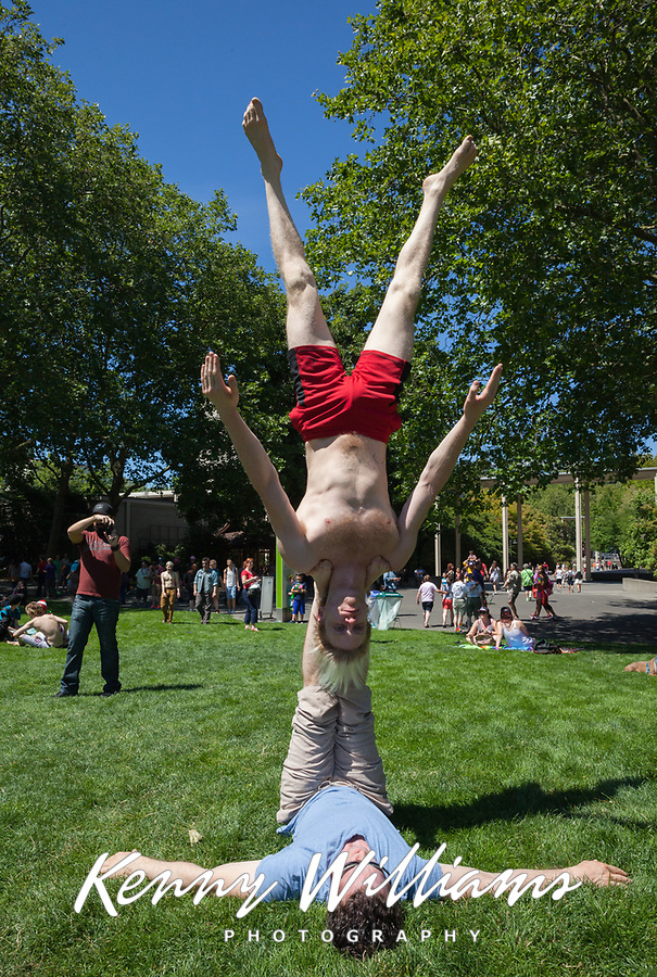 Gymnasts perform at Seattle PrideFest 2016, Pride Festival, Washington, USA.
