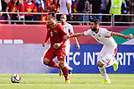 Nguyen Trong Hoang of Vietnam (L) fights for the ball with Baha' Abdelrahman of Jordan (R) during the AFC Asian Cup UAE 2019 Round of 16 match between Jordan (JOR) and Vietnam (VIE) at Al Maktoum Stadium on 20 January 2019 in Dubai, United Arab Emirates. Photo by Marcio Rodrigo Machado / Power Sport Images