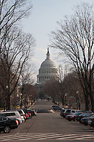 The US Capitol Building viewed along Delaware Avenue NE in Washington DC