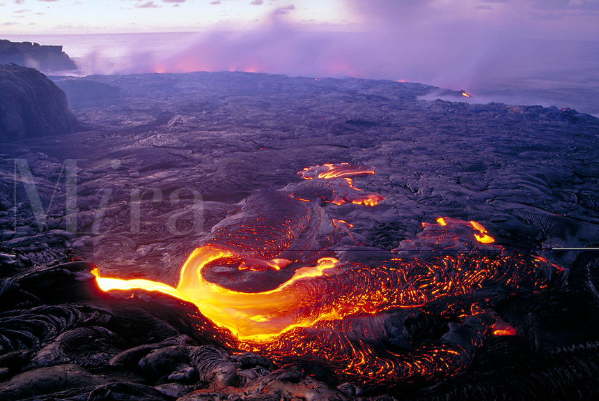 Kilauea Volcano - lava flow entering Pacific Ocean. Hawaii, Volcanoes National Park.