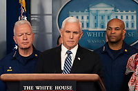 United States Vice President Mike Pence speaks during a briefing on coronavirus at the White House in Washington, DC on March 15, 2020.<br /> Credit: Chris Kleponis / Pool via CNP/AdMedia