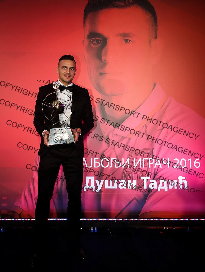 Fudbalski Savez Srbije<br /> Zlatna Lopta 2016<br /> Dusan Tadic Najbolji Fudbaler u 2016-Zlatna Lopa<br /> Beograd, 20.12.2016.<br /> foto: Srdjan Stevanovic/Starsportphoto&copy;