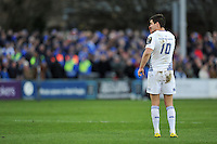 Jonathan Sexton of Leinster Rugby has a word with his backline. European Rugby Champions Cup match, between Bath Rugby and Leinster Rugby on November 21, 2015 at the Recreation Ground in Bath, England. Photo by: Patrick Khachfe / Onside Images