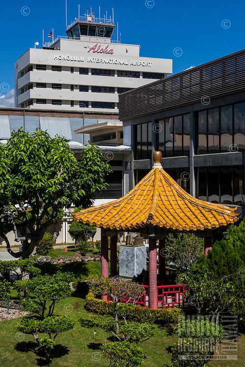 Garden with pagoda at Honolulu International Airport, Honolulu, O'ahu