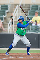 Samir Duenez (3) of the Lexington Legends at bat against the Kannapolis Intimidators at CMC-Northeast Stadium on May 26, 2015 in Kannapolis, North Carolina.  The Intimidators defeated the Legends 4-1.  (Brian Westerholt/Four Seam Images)