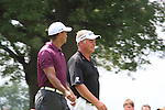 Tiger Woods (USA) and Darren Clarke (NIR) walking off the 3rd tee on day 1of the World Golf Championship Bridgestone Invitational, from Firestone Country Club, Akron, Ohio. 4/8/11.Picture Fran Caffrey www.golffile.ie