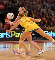 23.09.2012 Silver Ferns Camilla Lees and Australian Kim Green in action during the third netball test match between the Silver Ferns and the Australian Diamonds at CBS Canterbury Arena in Christchurch. Mandatory Photo Credit ©Michael Bradley.