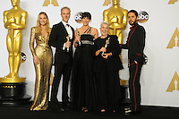 28 February 2016 - Hollywood, California - Margot Robbie, Damian Martin (2nd from L), Elka Wardega (C) and Lesley Vanderwalt (2nd from R), Jared Leto, winners of the Best Makeup and Hairstyling award for 'Mad Max: Fury Road,'. 88th Annual Academy Awards presented by the Academy of Motion Picture Arts and Sciences held at Hollywood & Highland Center. Photo Credit: Byron Purvis/AdMedia