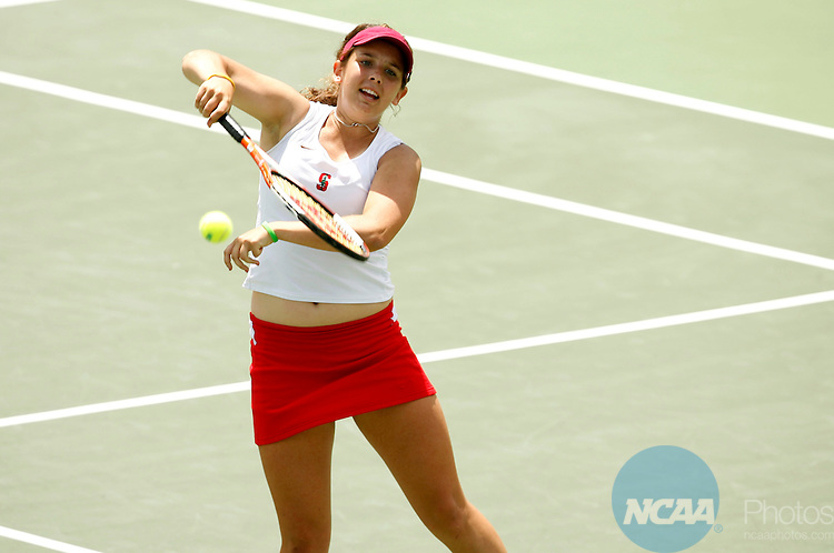 23 MAY 2006:  Celia Durkin of Stanford University vollies against the University of Miami during the doubles portion of the Division I Women's Tennis Championship held at the Taube Tennis Center in Stanford, CA.  Stanford defeated Miami 4-1 for the national title.  Jamie Schwaberow/NCAA Photos