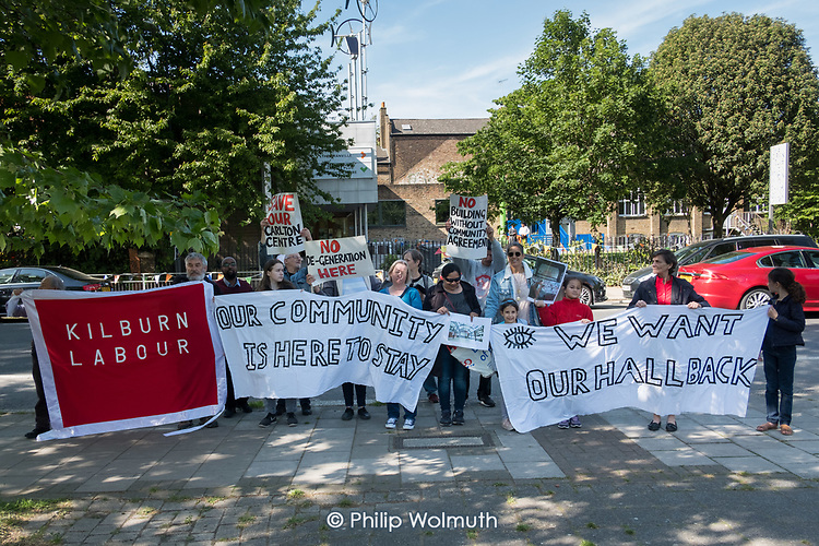 Users of the Carlton Centre protest outside the offical opening of the refurbished centre, which they claim was done without consultation and does not meet the needs of the local commmunity.