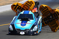 Jul. 27, 2013; Sonoma, CA, USA: NHRA funny car driver Jeff Diehl during qualifying for the Sonoma Nationals at Sonoma Raceway. Mandatory Credit: Mark J. Rebilas-