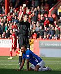 03.03.2019 Aberdeen v Rangers: Alfredo Morelos booked