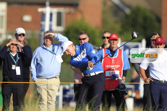 Euan Walker (GB&I) on the 17th tee during Day 1 Singles of the Walker Cup at Royal Liverpool Golf CLub, Hoylake, Cheshire, England. 07/09/2019.<br /> Picture: Thos Caffrey / Golffile.ie<br /> <br /> All photo usage must carry mandatory copyright credit (© Golffile   Thos Caffrey)