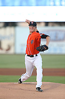Harrison Cooney (11 ) of the Inland Empire 66ers pitches during a game against the San Jose Giants at San Manuel Stadium on August 26, 2015 in San Bernardino, California. San Jose defeated Inland Empire, 8-1. (Larry Goren/Four Seam Images)