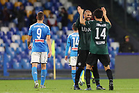 Takehiro Tomiyasu of Bologna and Danilo Larangeria celebrate at the end of the match<br /> Napoli 01-12-2019 Stadio San Paolo <br /> Football Serie A 2019/2020 <br /> SSC Napoli - Bologna FC<br /> Photo Cesare Purini / Insidefoto