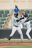 Manuel Geraldo (1) of the Augusta GreenJackets at bat against the Kannapolis Intimidators at Kannapolis Intimidators Stadium on May 3, 2017 in Kannapolis, North Carolina.  The Intimidators defeated the GreenJackets 7-4.  (Brian Westerholt/Four Seam Images)