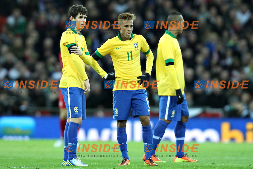 Londra 6-02-2013 Wembley Stadium.Calcio amichevole internazionale Inghilterra vs Brasile.Friendly Match England Vs Brazil .Fred, Neymar e Luis Fabiano.Photo Matteo Ciambelli / Insidefoto