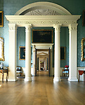 Kedleston Hall, Derbyshire, England, 1759 - 1765. The State Boudoir. Screen of columns dividing the room.
