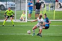 Kansas City, MO - Thursday August 10, 2017: Lynn Williams, Yael Averbuch during a regular season National Women's Soccer League (NWSL) match between FC Kansas City and the North Carolina Courage at Children's Mercy Victory Field.