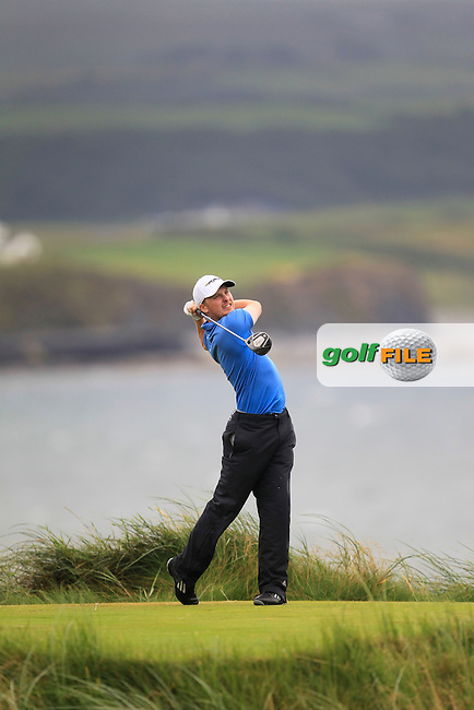 Simon Ward (Co. Louth) on the 7th tee during the South of Ireland Amateur Open Championship Final at Lahinch Golf Club  31th July 2013 <br /> Picture:  Thos Caffrey / www.golffile.ie