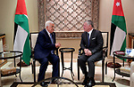 Palestinian President Mahmoud Abbas is welcomed by Jordan's King Abdullah II in the capital Amman, on May 23, 2019. Photo by Mohammed Al Ateeq