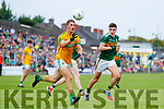 Sean O'Shea, Kerry in action against Shane Walsh, Meath during the Football All-Ireland Senior Championship Quarter-Final Group 2 Phase 3 match between Kerry and Meath at Páirc Tailteann, Navan on Saturday.