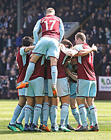 Burnley players celebrate with Kevin Long after he scored his side's second goal <br /> <br /> Photographer Rich Linley/CameraSport<br /> <br /> The Premier League - Burnley v Leicester City - Saturday 14th April 2018 - Turf Moor - Burnley<br /> <br /> World Copyright &copy; 2018 CameraSport. All rights reserved. 43 Linden Ave. Countesthorpe. Leicester. England. LE8 5PG - Tel: +44 (0) 116 277 4147 - admin@camerasport.com - www.camerasport.com